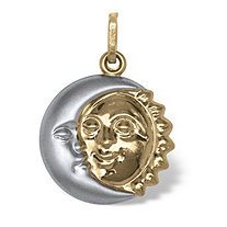 Two-Tone 14k Gold Sun and Moon Drop Pendant