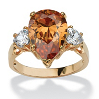 Pear-Cut Champagne Cubic Zirconia Ring ONLY $22.99