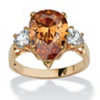 Related Item 6.41 TCW Pear-Cut Champagne Cubic Zirconia Ring in 14k Gold-Plated