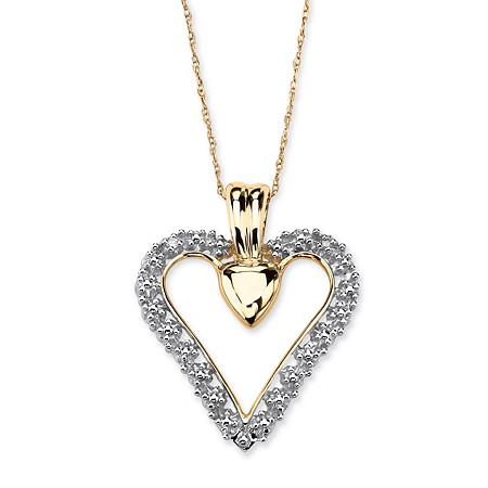 "Diamond Accent Heart Pendant Necklace in Solid 10k Gold 18"" at PalmBeach Jewelry"