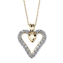 Diamond Accent Heart Pendant Necklace in Solid 10k Gold 18""