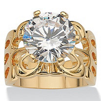 SETA JEWELRY 6 TCW Round Cubic Zirconia 14k Yellow Gold-Plated Bridal Engagement Filigree Solitaire Ring