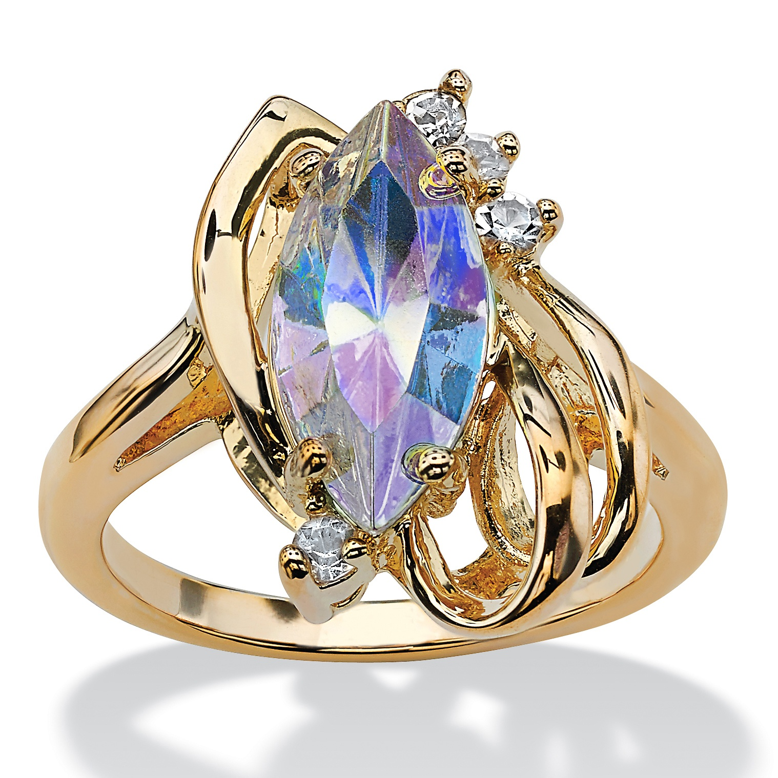 Marquise Cut Aurora Borealis Crystal Cocktail Ring In 14k