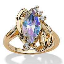 Marquise-Cut Aurora Borealis Crystal Cocktail Ring in 14k Gold-Plated