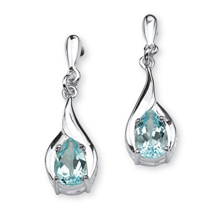 2.20 TCW Pear-Cut Blue Topaz Drop Earrings in Sterling Silver at PalmBeach Jewelry