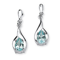 SETA JEWELRY 2.20 TCW Pear-Cut Blue Topaz Drop Earrings in Sterling Silver