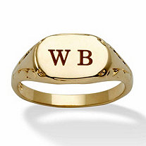 SETA JEWELRY Personalized Initial Ring 14k Yellow Gold-Plated Sizes 6-16