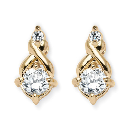 2.62 TCW Round Cubic Zirconia Earrings in Yellow Gold Tone at PalmBeach Jewelry
