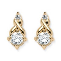 Round Cubic Zirconia Earrings In Yellow Gold Tone