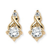SETA JEWELRY 2.62 TCW Round Cubic Zirconia Earrings in Yellow Gold Tone