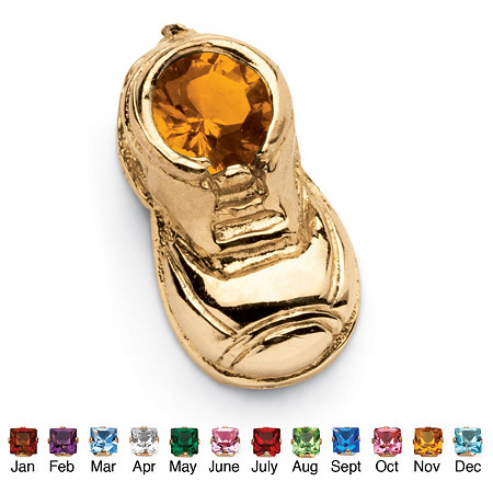 Round Simulated Birthstone 14k Yellow Gold Baby Bootie Charm at PalmBeach Jewelry