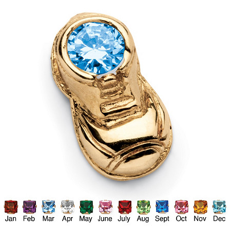 New Round Simulated Birthstone 14k Yellow Gold Baby Bootie Charm at  EY98