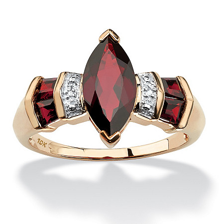 2.84 TCW Marquise-Cut Garnet and Diamond Accent Ring in 10k Gold at PalmBeach Jewelry