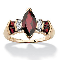 2.84 TCW Marquise-Cut Garnet and Diamond Accent Ring in Solid 10k Gold