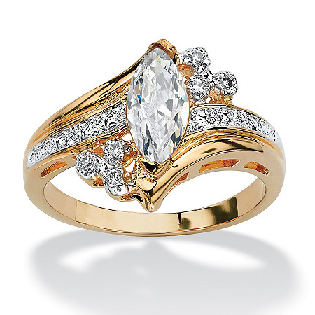 Marquise-Cut Cubic Zirconia Engagement Anniversary Ring 1.03 TCW in 14k Gold-Plated at PalmBeach Jewelry