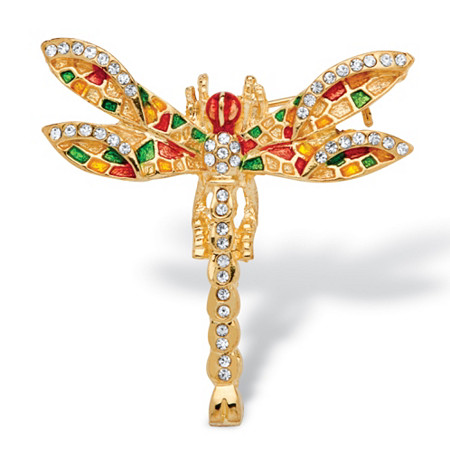 Multicolor Crystal Enamel Dragonfly Pin in Yellow Gold Tone at PalmBeach Jewelry
