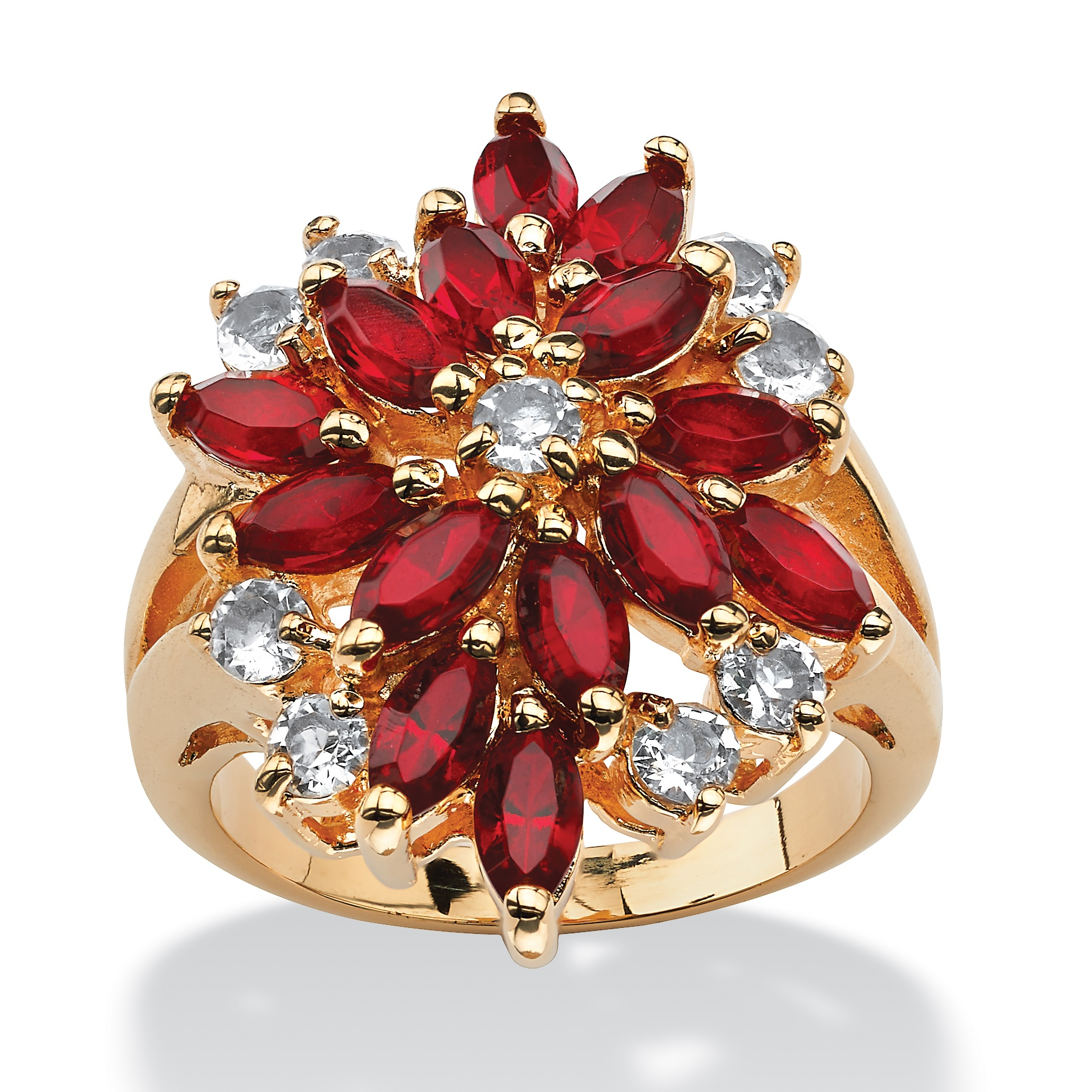 Marquise Cut Simulated Red Ruby Floral Cluster Cocktail