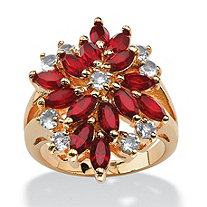 Marquise-Cut Red Crystal Flower Cluster Cocktail Ring in 18k Gold-Plated