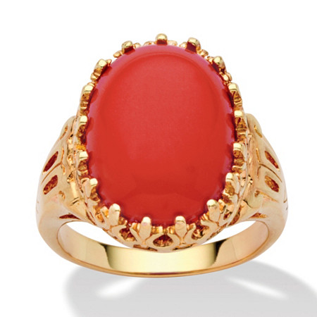 Oval Simulated Coral 14k Yellow Gold-Plated Cabochon Filigree Cocktail Ring at PalmBeach Jewelry