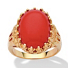 Related Item Oval Simulated Coral 14k Yellow Gold-Plated Cabochon Filigree Cocktail Ring