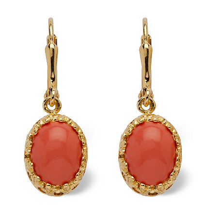 Orange Oval Simulated Coral 14k Yellow Gold-Plated Cabochon Filgree Drop Earrings at PalmBeach Jewelry