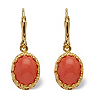 Related Item Orange Oval Simulated Coral 14k Yellow Gold-Plated Cabochon Filgree Drop Earrings