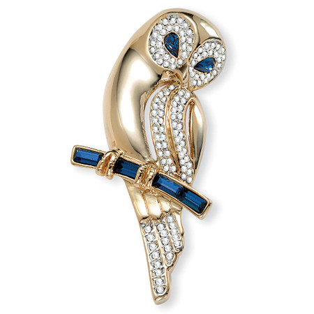 Simulated Blue Sapphire and Crystal Owl Pin 4 TCW in Yellow Gold Tone at PalmBeach Jewelry