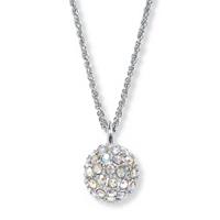 urora Borealis Crystal Silvertone Disco Ball Drop Pendant Necklace ONLY $19.99
