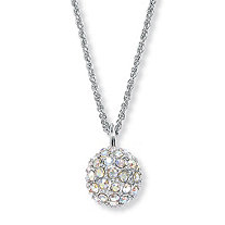 Aurora Borealis Crystal Silvertone Disco Ball Drop Pendant Necklace 20""