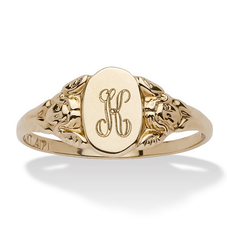 Personalized Signet Personalized Initial Ring in Solid 10k Yellow Gold at PalmBeach Jewelry