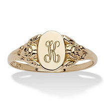 SETA JEWELRY Personalized Signet Personalized Initial Ring in Solid 10k Yellow Gold