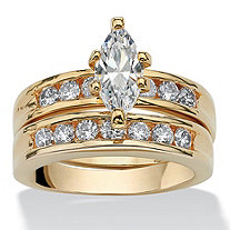 SETA JEWELRY 1.78 TCW Marquise-Cut Cubic Zirconia Two-Piece Bridal Set 14k Gold-Plated