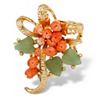 Related Item Genuine Orange Coral and Green Agate Bouquet Pin in Gold Tone