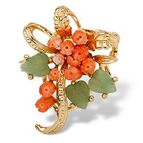 Genuine Orange Coral and Green Agate Bouquet Pin in Yellow Gold Tone
