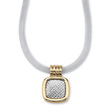 "Two-Tone Gold Tone and Silvertone Diamond-Cut Pendant and Mesh Necklace 17"" at PalmBeach Jewelry"