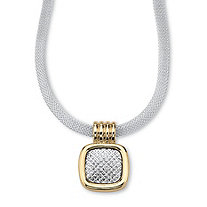 Two-Tone Gold Tone and Silvertone Diamond-Cut Pendant and Mesh Necklace 17""