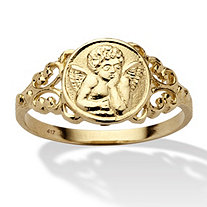 Cherub Guardian Angel Open Scrollwork Ring in Solid 10k Yellow Gold