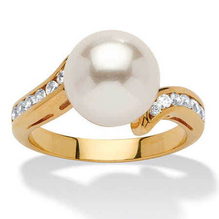 .16 TCW Round Simulated Pearl and Cubic Zirconia Accent Yellow Gold-Plated Ring (9.5mm) at PalmBeach Jewelry