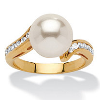 .16 TCW Round Simulated Pearl and Cubic Zirconia Accent 14k Yellow Gold-Plated Ring (9.5mm)