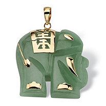 Green Jade 14k Yellow Gold Good Fortune Elephant Pendant