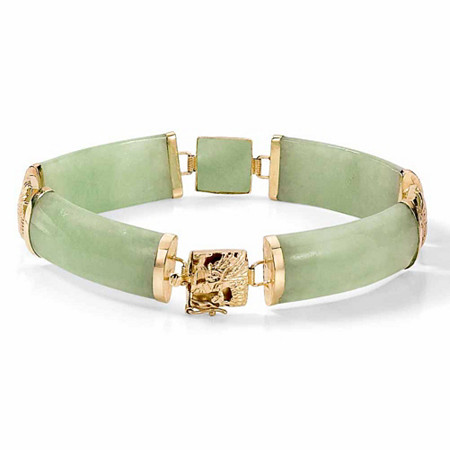 Genuine Green Genuine Jade 14k Yellow Gold Macaroni-Link Bracelet 7.25