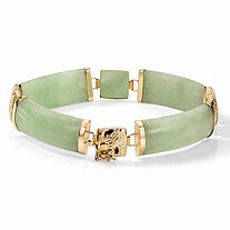 SETA JEWELRY Genuine Green Genuine Jade 14k Yellow Gold Macaroni-Link Bracelet 7.25