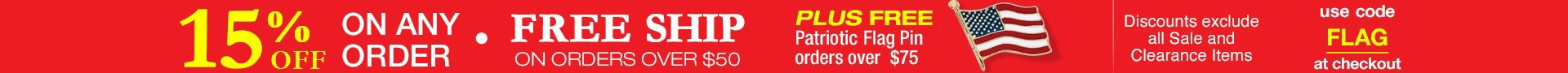 15% Off Any Order Plus Free Flag Pin orders over $75