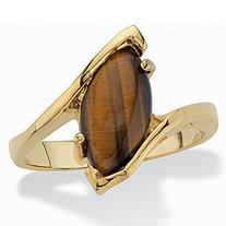 SETA JEWELRY Marquise-Shaped Genuine Tiger's-Eye 14k Yellow Gold-Plated Cocktail Ring