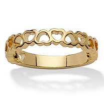 "14k Yellow Gold-Plated ""Circle of Hearts"" Ring"