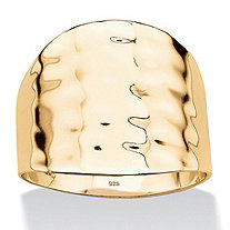 14k Gold over .925 Sterling Silver Hammered-Style Cigar Band