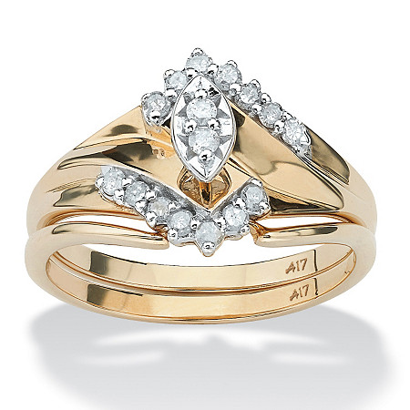 1/5 TCW Marquise-Cut Diamond 10k Gold Bridal Engagement Wedding Ring Set at PalmBeach Jewelry