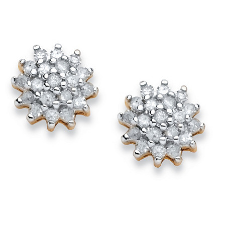 3/8 TCW Diamond Cluster Stud Earrings in 10k Yellow Gold at PalmBeach Jewelry