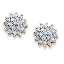 3/8 TCW Diamond Cluster Stud Earrings in 10k Yellow Gold
