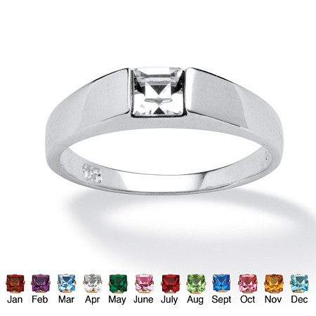 Princess-Cut Birthstone Stackable Ring in Sterling Silver at PalmBeach Jewelry